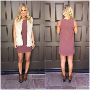 Mauve Sleeveless Shift Dress
