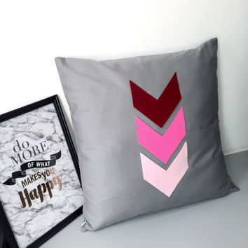 Custom Your Color! Pink Arrows Decorative Grey Pillow Cover. 17inch Gray Accents Pillow Case. Chevron Pillow. New Home Gift. Home Office