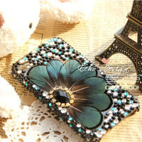iPhone crystal peacock feather Case iPhone4G case iPhone4S case iPhone 5 Case pearl rainstone Gem Phone Cover For iPhone4/4S For iPhone5