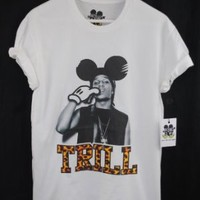 Actual Fact A$AP ASAP Rocky Trill Leopard Print Mickey Ears Hip Hop Supreme Tee T-Shirt:Amazon:Clothing