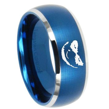 10mm Joker Dome Brushed Blue 2 Tone Tungsten Carbide Custom Mens Ring