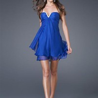 Blue Short Strapless La Femme 15853 Dress