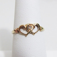 Vintage Ring: Linked Hearts 10k Black Hills Gold
