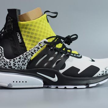 [Free Shipping ]Nike Air Presto Mid Acronym Dynamic Yellow Black White AH7832-100  Basketball  Shoes