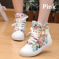 Casual shoes women wedge shoes 2015 new fashion PU Leather floral high top women Sneakers shoes