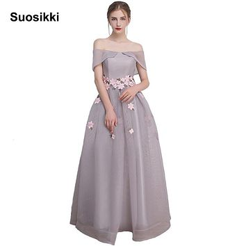 Suosikki New arrival boat neck flower evening dress formal prom party gown tulle floor length dress dresses vestido de festa