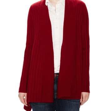 Autumn Cashmere Women's Draped Ribbed Cashmere Cardigan - Red -