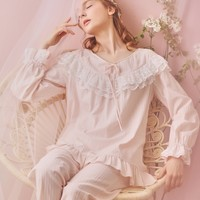 Ever Young Cotton Lace Vintage Long Sleeve Night Suit
