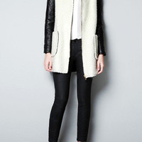 Quilted Faux Leather Long Sleeved Twin Plackets Coat