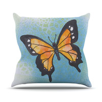 "Padgett Mason ""Summer Flutter"" Blue Orange Throw Pillow"