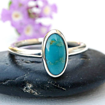 turquoise gem ring silver, turquoise engagement ring, proposal ring turquoise, December birthstone ring turquoise, anniversary gift for her