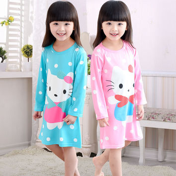 2016 new Spring and autumn children's pajamas long sleeve pajamas kids girl cartoon nightgown