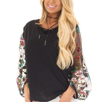Black Top with Colorful Sheer Embroidered Sleeves