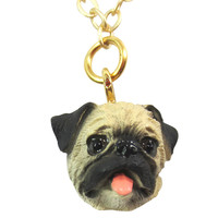 I Love My Pug - Brown Pug Charm Necklace