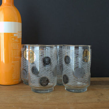Gold Rimmed Cocktail Glasses, Retro Gold Coin Bar Glass, White and Gold Highball Glasses