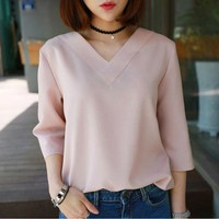2017 Summer Tops V-neck Chiffon Blouse Shirt Women Office Ladies Top Work Shirts Clothing Korean White Gray Pink S-XL