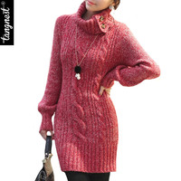 TANGNEST Women Winter Sweater Dress 2016 Casual Long Slim Button Turtleneck Lantern Sleeve Knitted Pullover WZQ110