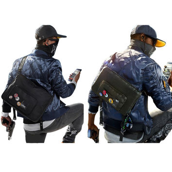 Watch Dogs 2 Marcus Holloway Cosplay Shoulder Bag Casual CrossBody Badges New