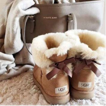 """UGG"" Women male Fashion Wool Snow Boots A bowknot Chestnut"
