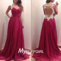Burgundy Draped Sweetheart Chiffon Prom Dress With Sheer Backless