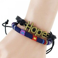 Adjustable Multilayer PU Leather Hope Bracelet - Blue