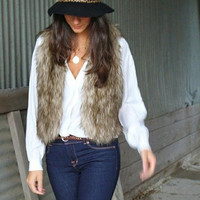 Women Faux Fur Vest Luxury Women Fur Waistcoat Short Single Button Fur Vest Elegant Natural Fur Vest = 1929968900
