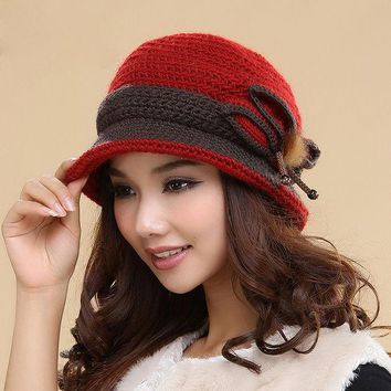 VONESC6 Winter Hats Thermal Hand Woven Wool Caps Plus Velvet Double Layer Keep Warm Protection Ear Knitted Hat Cap