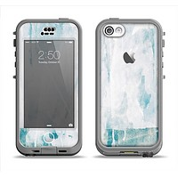 The Teal and White WaterColor Panel Apple iPhone 5c LifeProof Nuud Case Skin Set