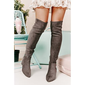 Missed Your Chance Thigh High Boots (Grey Suede)