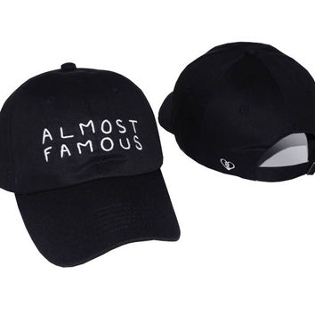 Black ALMOST FAMOUS Embroidered Baseball Cap Hat