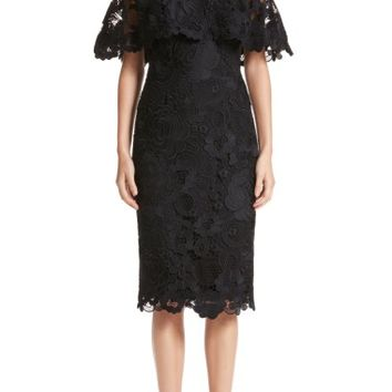 Lela Rose Lace Capelet Sheath Dress | Nordstrom