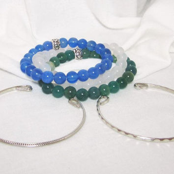 Tropical Agate Set of 5 Stacking Stretch Bracelet Trio - Blue - Natural White - Green Agate