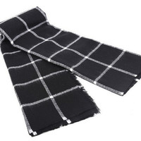 Black Tartan Plaid Oversized Scarf