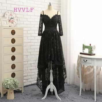 HVVLF Black 2017 Prom Dresses A-line Spaghetti Straps Short Front Long Back Bow Lace Prom Gown Evening Dresses Evening Gown