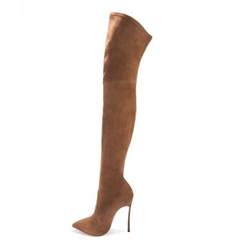 Stretch Slim Thigh High Boots up to Size 10.5 (26.5cm EU 42)
