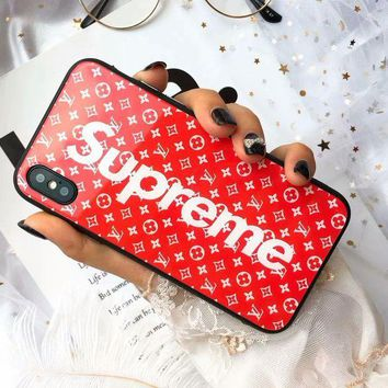 LV Louis Vuitton X Supreme Fashion iPhone Phone Cover Case For iphone 6 6s 6plus 6s-plus 7 7plus 8 8plus X Red I-OF-SJK