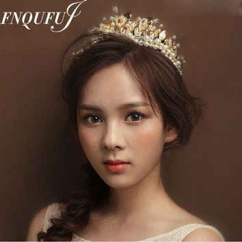 Baroque Crown Wedding Hair Accessories Tiaras And Crowns Crystal Bridal Head Jewelry Mariage Ornament