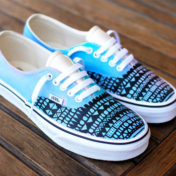bc226e4d19a Custom Hand Painted Pastel Tribal Vans Authentic shoes - customizable
