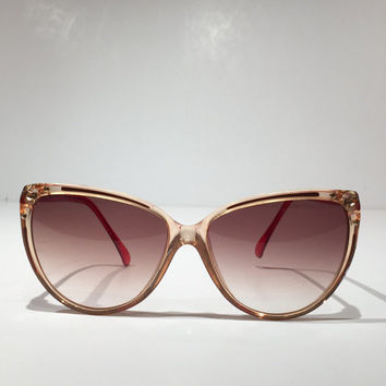 Vintage Emilio Pucci Sunglasses, 1980s Emilio Pucci Pink/Peach and Red Cateye Sunglasses, Emilio Pucci Sunglasses, Made in France