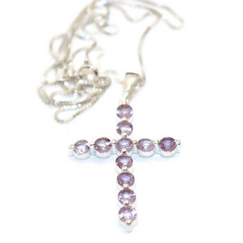 Cross Necklace, Amethyst Cross Pendant, Sterling Silver Cross Necklace