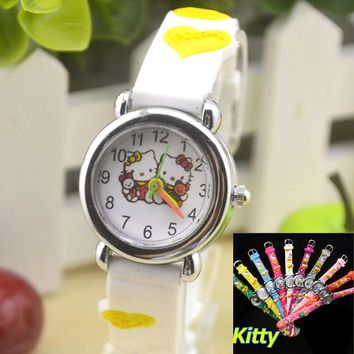 Hello Kitty Cartoon Quartz Wristwatch Hodinky Children Watches Wrist Watch Girls Silica Gel Clock Ceasuri Saat Relogios infantis