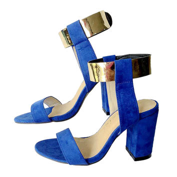 Golden Color Lace-up Thick Heel Sandals Women Shoes  blue