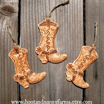 Set of 3 Tiny Western Cowboy Boots / Rustic Ranch Decor / Cowboy Boot Ornament / Cowgirl Pendant / Cowboy Christmas / Gift / Wild West Decor