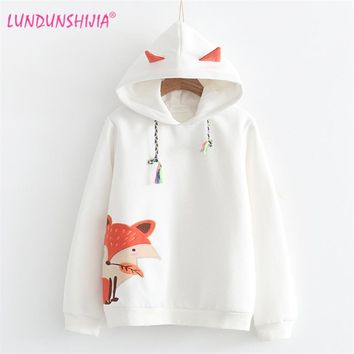 LUNDUNSHIJIA 2017 Autumn Winter Women Sweatshirt Fox Embroidery With Cashmere Sweatshirt Hoodies Tracksuit Jumper Pullover