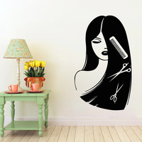 Hair Salon Wall Decals Girl Face Hairdressing Beauty Salon Wall Decor Comb Scissors Vinyl Decal Sticker Home Art Mural Make Up Decals KG909