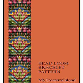 Bead Loom Folk Art Flowers Motif 1 Bracelet Pattern PDF