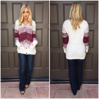 Merlot Ombre Button Up Sweater