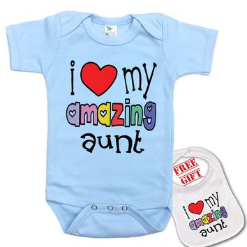 """"""" I Love My Amazing Aunt """" Family theme Onesuit & bib (Available in 5 Colors)"""