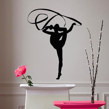 Wall Decals Girl Gymnast With A Ribbon Sport Gymnastics People Home Vinyl Decal Sticker Kids Nursery Baby Room Decor kk510