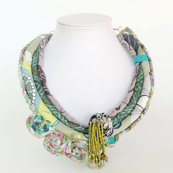 Blue and green Woman's handmade unique necklace.textile necklace, statement jewelry, fabric necklace, one of a kind